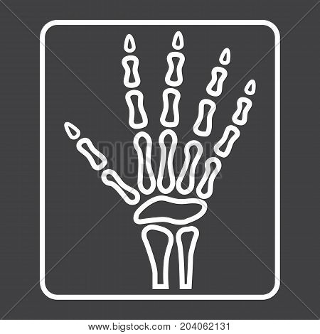 Hand X-ray line icon, medicine and healthcare, radiology sign vector graphics, a linear pattern on a black background, eps 10.