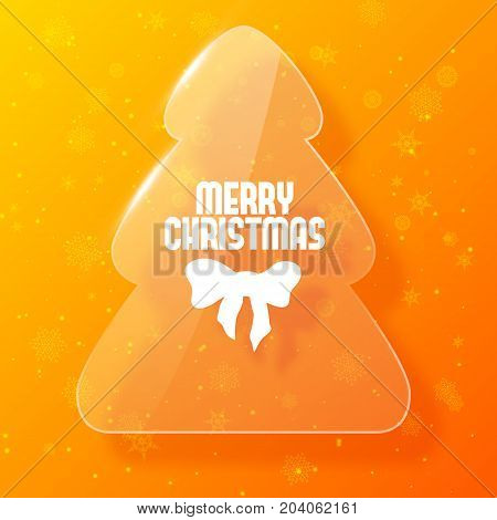 Merry christmas postcard with fir tree in glass style on orange background flat vector illustration