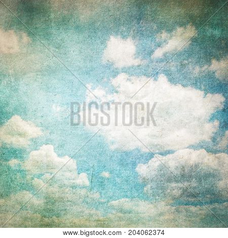 Highly detailed retro image of cloudy sky