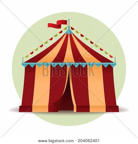 Circus tent icon isolated on white background. Vintage circus marquee in flat style. Colorful illustration for your design. Vector eps 10.