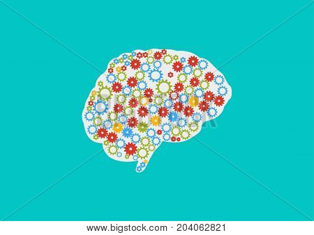 Vector illustration: Industry 4.0, Machine learning or decision making concept. Great also as creativity or inspiration icon. Artificial intelligence or AI brain icon. Human Brain with gears and cogs.