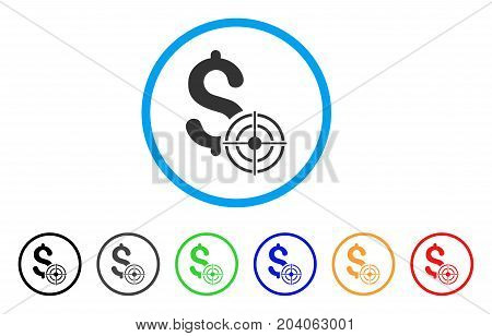 Business Target icon. Vector illustration style is a flat iconic business target grey rounded symbol inside light blue circle with black, gray, green, blue, red, orange color additional versions.