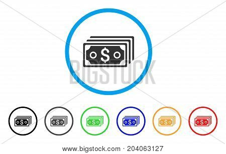 Dollar Banknotes icon. Vector illustration style is a flat iconic dollar banknotes gray rounded symbol inside light blue circle with black, gray, green, blue, red, orange color additional versions.