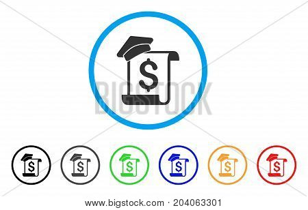 Education Invoice icon. Vector illustration style is a flat iconic education invoice gray rounded symbol inside light blue circle with black, gray, green, blue, red, orange color variants.