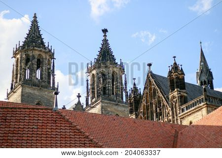 MAGDEBURG, GERMANY - SEPTEMBER 13, 2017: View of the towers of Magdeburg Cathedral