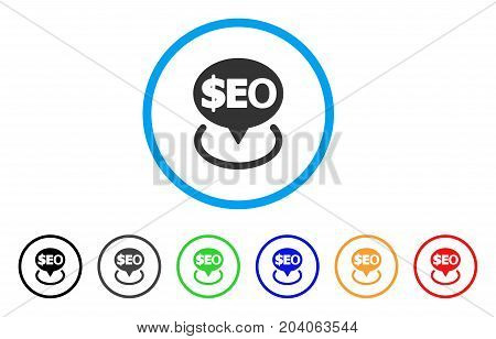 Geotargeting Seo icon. Vector illustration style is a flat iconic geotargeting seo grey rounded symbol inside light blue circle with black, gray, green, blue, red, orange color versions.