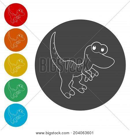 Cute Cartoon Dinosaur icons set, vector icon