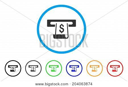 Paper Receipt Slot icon. Vector illustration style is a flat iconic paper receipt slot grey rounded symbol inside light blue circle with black, gray, green, blue, red, orange color versions.