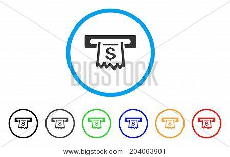 Paper Receipt Terminal icon. Vector illustration style is a flat iconic paper receipt terminal gray rounded symbol inside light blue circle with black, gray, green, blue, red, orange color versions.