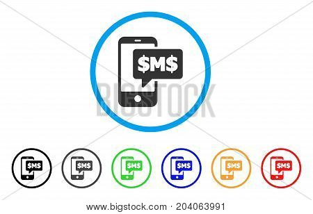 Phone SMS icon. Vector illustration style is a flat iconic phone sms grey rounded symbol inside light blue circle with black, gray, green, blue, red, orange color variants.