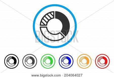 Pie Chart icon. Vector illustration style is a flat iconic pie chart grey rounded symbol inside light blue circle with black, gray, green, blue, red, orange color versions.