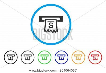 Receipt Terminal icon. Vector illustration style is a flat iconic receipt terminal grey rounded symbol inside light blue circle with black, gray, green, blue, red, orange color variants.