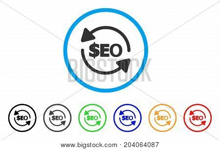 Refresh Seo icon. Vector illustration style is a flat iconic refresh seo gray rounded symbol inside light blue circle with black, gray, green, blue, red, orange color versions.