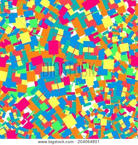 Seamless pattern consisting of colorful chaotic squares.For Cover Report Annual Brochure Flyer Poster. Layout for presentation website and print magazine cover. Raster copy.