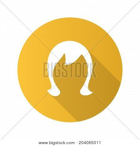 Wig flat design long shadow glyph icon. Periwig. Vector silhouette illustration