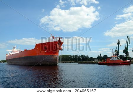 Tanker entering the port, Gdansk in Poland
