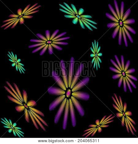 Seamless pattern consisting of embroidered colorful flowers on back background. Raster copy.
