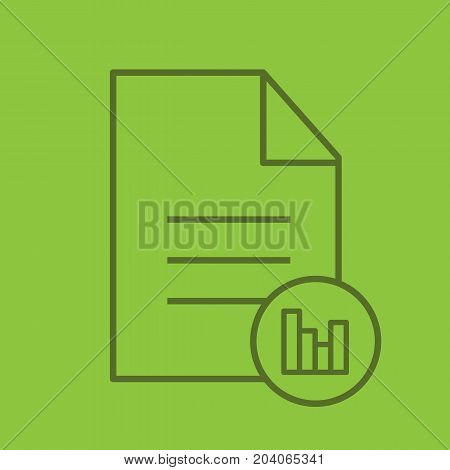 File statistics linear icon. Document with diagram. Thin line outline symbols on color background. Vector illustration
