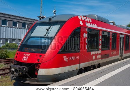 Puttgarden germany - May 25. 2017: Deutsche Bahn Regional train at Puttgarden train station