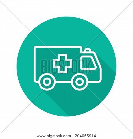 Ambulance flat linear long shadow icon. Emergency car. Vector outline symbol
