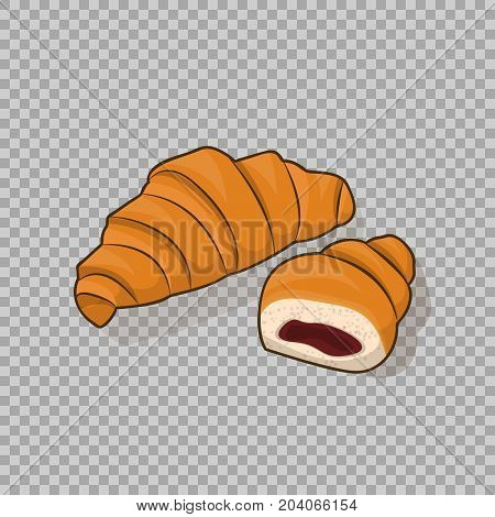 Croissant and half a croissant with the stuffing inside, isolated vector on transparent background. Illustration confection bakery, delicious dessert, a symbol for your Projects summary.