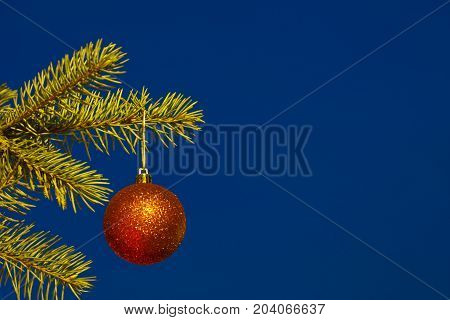 Christmas Ball With Night Blue Sky