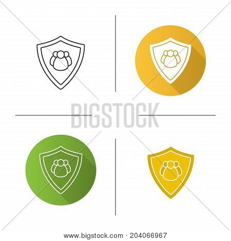 Users protection icon. Flat design, linear and glyph color styles. Collective security. Protection shield with group of people. Isolated vector illustrations