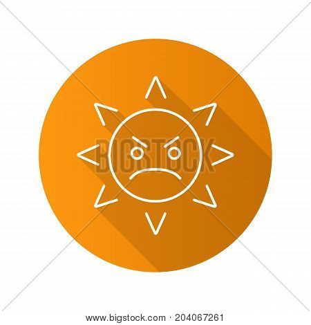 Angry sun smile flat linear long shadow icon. Frowned sun face. Vector outline symbol