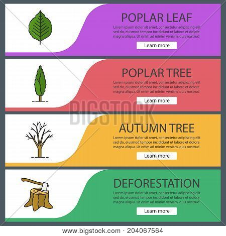 Trees web banner templates set. Stump with axe, poplar, tree and leaf. Website color menu items. Vector headers design concepts