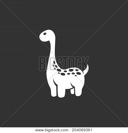 Dinosaur icon isolated on black background. Dinosaur vector logo. Flat design style. Modern vector pictogram for web graphics - stock vector