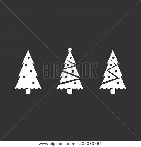 Fir-tree icon set isolated on black background. Fir-tree vector logo. Flat design style. Modern vector pictogram for web graphics - stock vector