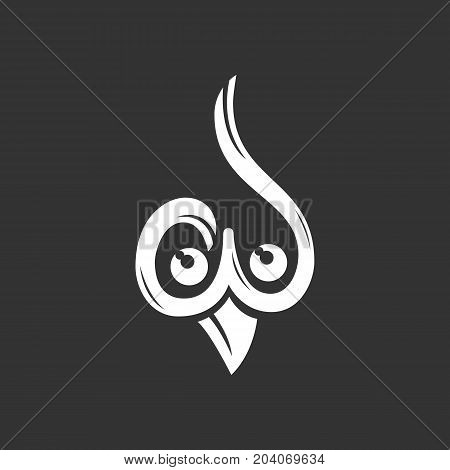 Owl icon isolated on black background. Owl vector logo. Flat design style. Modern vector pictogram for web graphics - stock vector