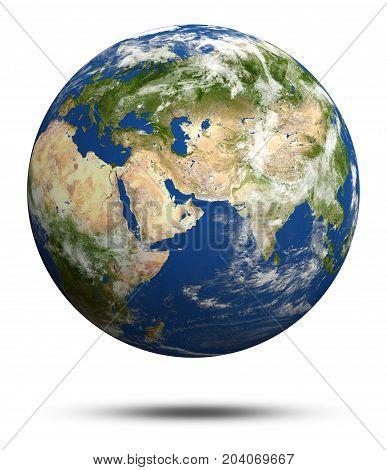 Planet Earth 3d rendering. Earth globe model, maps courtesy of NASA