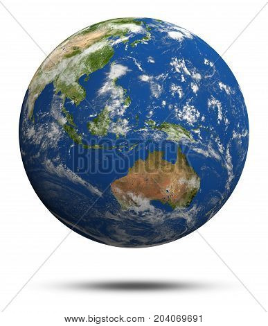 Australia and oceania. Earth globe model, maps courtesy of NASA 3d rendering