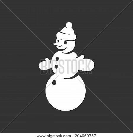 Snowman icon isolated on black background. Snowman vector logo. Flat design style. Modern vector pictogram for web graphics - stock vector
