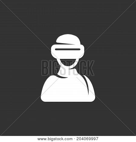 Virtual reality icon isolated on black background. Virtual reality vector logo. Flat design style. Modern vector pictogram for web graphics - stock vector