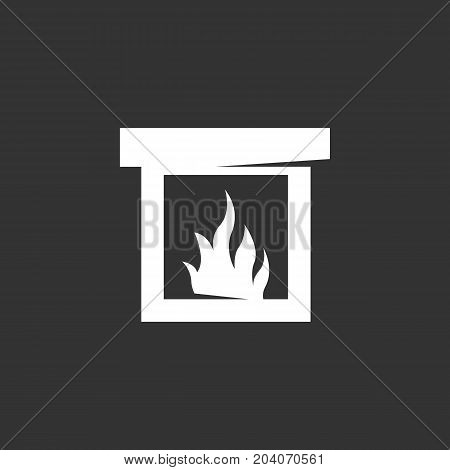 Fireplace icon isolated on black background. Fireplace vector logo. Flat design style. Modern vector pictogram for web graphics - stock vector