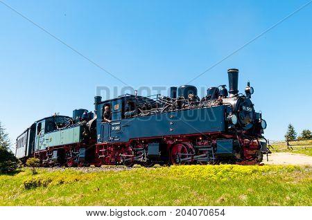 Brocken Germany - May 27. 2017: Steam train arriving at Brocken Train station