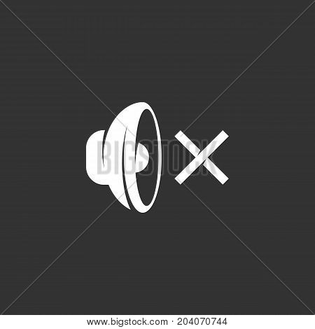 Speaker icon isolated on black background. Speaker vector logo. Flat design style. Modern vector pictogram for web graphics - stock vector