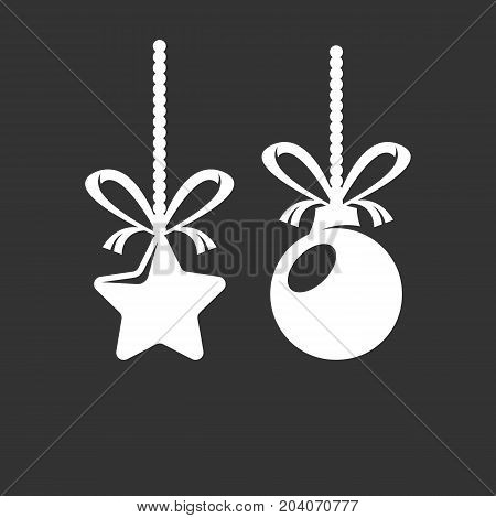Christmas star and ball icon isolated on black background. Christmas star and ball vector logo. Flat design style. Modern vector pictogram for web graphics - stock vector