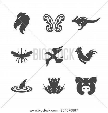 Modern icons set silhouettes of animals. Symbol collection of bird mosquito butterfly kangaroo isolated on white background. Modern flat pictogram illustration. Animals vector logo concept for web graphics - stock vector