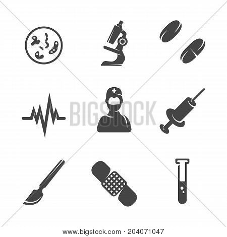 Modern icons set silhouettes of medical equipment. Medical equipment symbol collection isolated on white background. Modern flat pictogram illustration. Vector logo concept for web graphics - stock vector