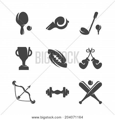 Modern icons set silhouettes of sports equipment. Sports equipment symbol collection isolated on white background. Modern flat pictogram pack. Vector logo concept for web graphics - stock vector