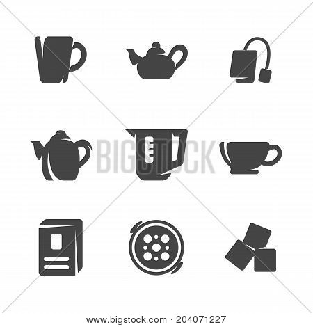 Modern icons set silhouettes of tea. Symbol collection of tea kettle and cup isolated on white background. Modern flat pictogram pack. Vector logo concept for web graphics - stock vector