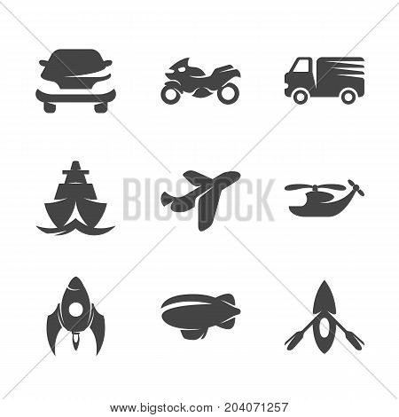 Modern icons set silhouettes of transport. Symbol collection of car bike boat aircraft isolated on white background. Modern flat pictogram pack. Transport vector logo concept for web graphics - stock vector