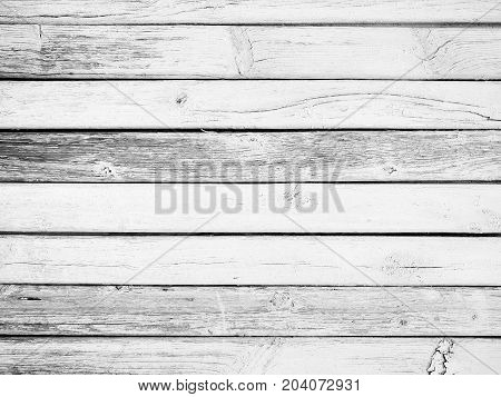Old white wooden planks. Black and white photo.