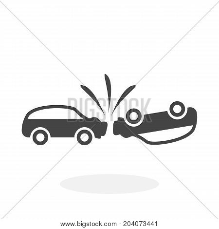 Car crash icon isolated on white background. Car crash vector logo. Flat design style. Modern vector pictogram for web graphics - stock vector