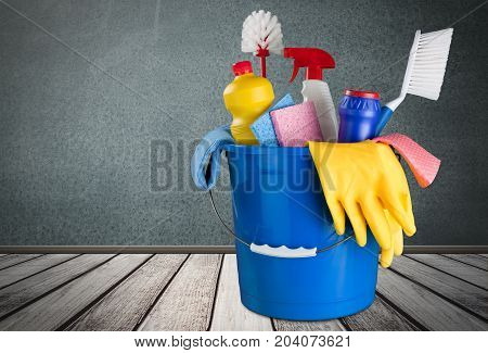 Plastic bucket gloves clean bottles cleaning yellow