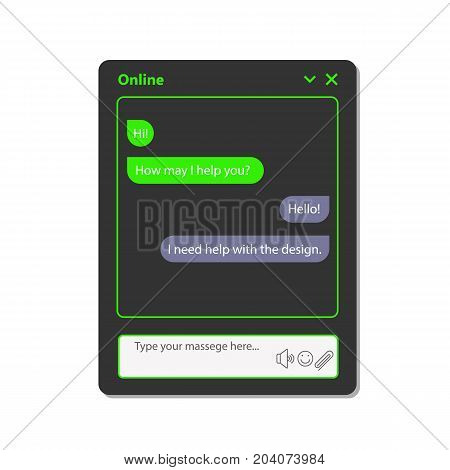 A simple chat window for the web. This is a chat window that you can use for websites and electronic applications. This illustration has a vector format. This illustration is easily edited in a graphical editor.