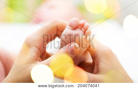 Feet hands baby mother white small shape